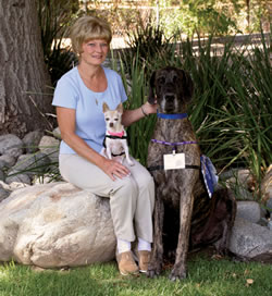 Sharon Rendall with dogs Barkley and Sophie