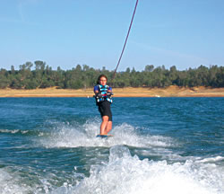 Jolie showing off her wakeboarding skills at the lake