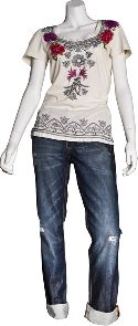 Johnny Was tee; PRVCY jeans j.serraino 255-9944