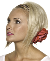 Rock a faux bob by applying hair powder to give height in the crown. Leave front layers out with the back pulled into a tight bun and finish with a thorn-free flower to hide pins.