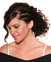 For a go-anywhere updo, take imperfect sections at the sides of the head and twist back to secure with remaining hair. Vibrant teal shadow, used just at the lash line, adds the right kind of funk.
