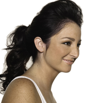 Experience the evolution of the ponytail with a loose pomp created with light teasing and bobby pins at the crown. Work black eyeliner into the top lash line for casual drama.