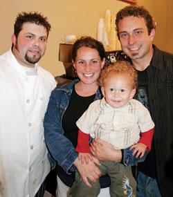 Pictured from Abbey Lane Cafe is Head Chef Brian Algee with owners, Jason and Jodi Gourson, along with son Max.