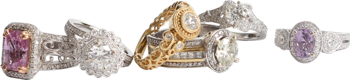 Custom heirloom engagement and wedding rings that match your personality, style and budget are the specialty of Manya Jewelers.