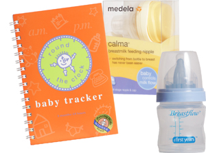 Medela Calma breastmilk feeding nipple, First Years Breastflow bottle and Round the Clock baby tracker Mother & Baby Boobtique 259-8802