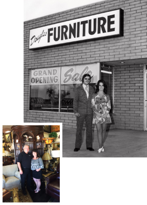 Doug and Pat Green in front of their store, Douglas Furniture, in 1975. The community mainstay is celebrating 40 years of service in 2015. Douglas Furniture is Santa Clarita Valley
