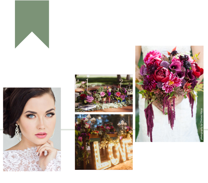 LEFT courtesy of Shutterstock   RIGHT flowers by Acton Creative Flowers photography by Chelsea Maras