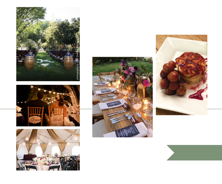 LEFT AV Party Rentals photography by R&R Creative Photography   RIGHT Salt Creek Grille Catering