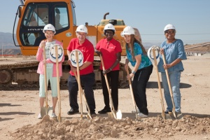 Members of the SCV Senior Center smile for the camera at the Center groundbreaking event.