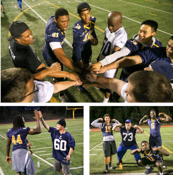 College of the Canyons football players Kamal Muhammad, Darryn Blackshere and Jumpei Dobashi join a group of athletes and coaches from Special Olympics Southern California (SOSC) for a team break, during the recent FUNdamentals Football Camp and